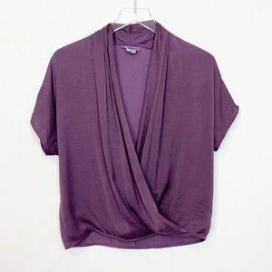 Vince Silk Drape Front Blouse Purple XXS